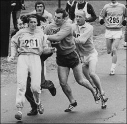 k.switzer, boston; men grabbing at her to remove her from her  race